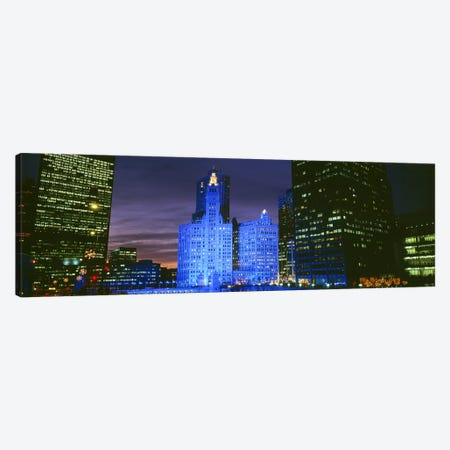 Wrigley Building, Blue Lights, Chicago, Illinois, USA Canvas Print #PIM3376} by Panoramic Images Art Print