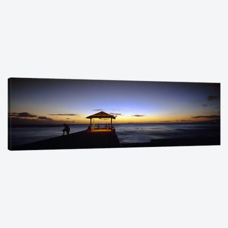 Tourists on a pier, Waikiki Beach, Waikiki, Honolulu, Oahu, Hawaii, USA Canvas Print #PIM3377} by Panoramic Images Canvas Art Print