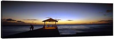 Tourists on a pier, Waikiki Beach, Waikiki, Honolulu, Oahu, Hawaii, USA Canvas Print #PIM3377
