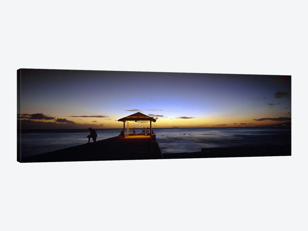 Tourists on a pier, Waikiki Beach, Waikiki, Honolulu, Oahu, Hawaii, USA 1-piece Canvas Art