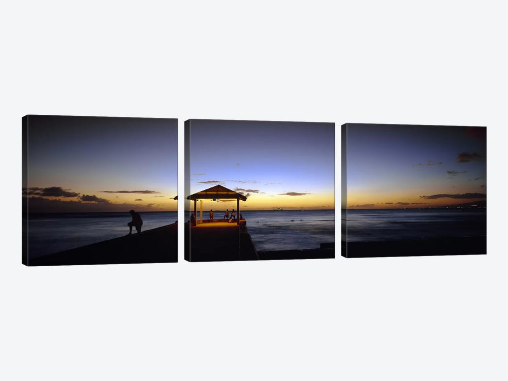 Tourists on a pier, Waikiki Beach, Waikiki, Honolulu, Oahu, Hawaii, USA by Panoramic Images 3-piece Canvas Artwork