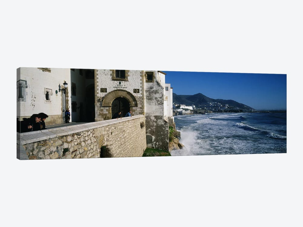 Tourists in a church beside the sea, Sitges, Spain by Panoramic Images 1-piece Canvas Artwork