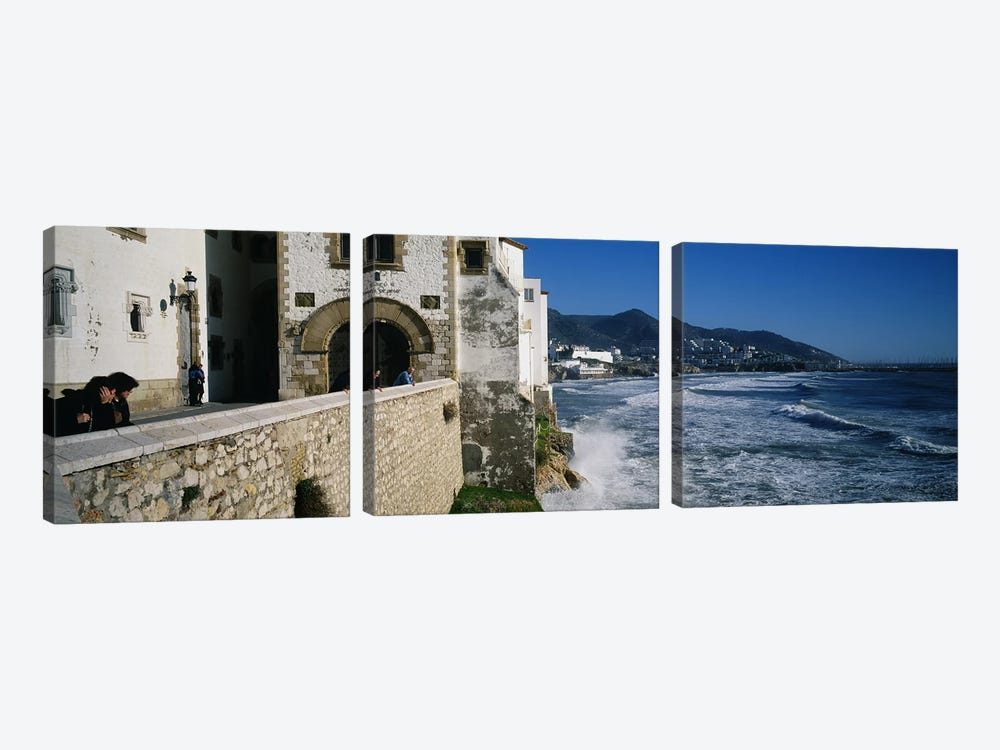 Tourists in a church beside the sea, Sitges, Spain by Panoramic Images 3-piece Canvas Wall Art