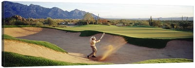 Side profile of a man playing golf at a golf course, Tucson, Arizona, USA Canvas Art Print