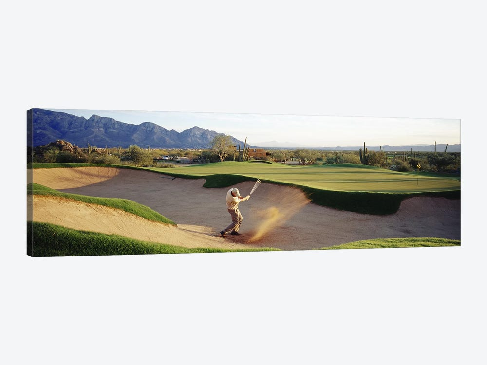 Side profile of a man playing golf at a golf course, Tucson, Arizona, USA 1-piece Canvas Print