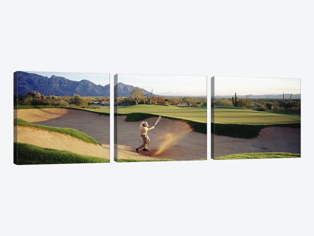 Side profile of a man playing golf at a golf course, Tucson, Arizona, USA 3-piece Canvas Art Print