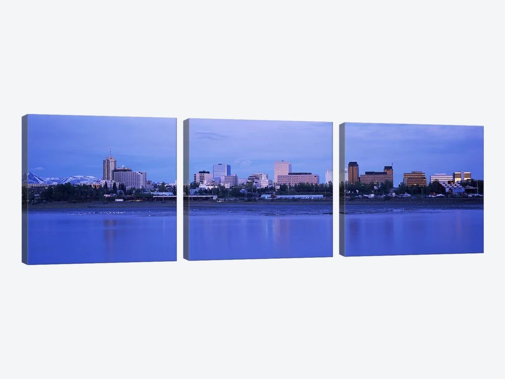 Buildings at the waterfront, Anchorage, Alaska, USA by Panoramic Images 3-piece Canvas Art Print