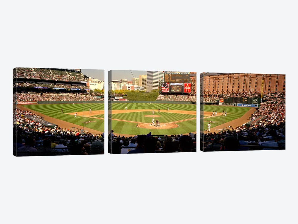 Camden Yards Baseball Game Baltimore Maryland USA #2 by Panoramic Images 3-piece Canvas Print