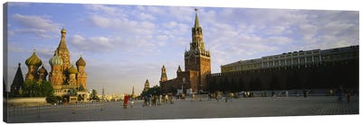 Cathedral at a town square, St. Basil's Cathedral, Red Square, Moscow, Russia Canvas Print #PIM3393