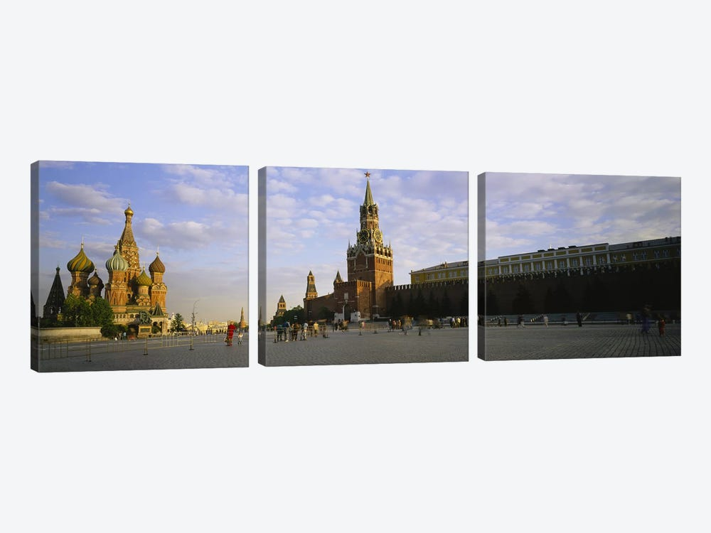 Cathedral at a town square, St. Basil's Cathedral, Red Square, Moscow, Russia by Panoramic Images 3-piece Canvas Artwork