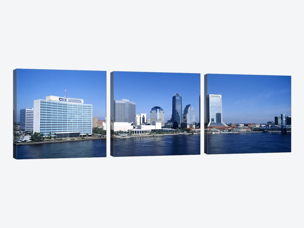 Buildings at the waterfront, St. John's River, Jacksonville, Florida, USA by Panoramic Images 3-piece Canvas Print