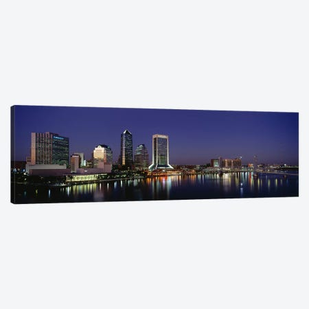 Buildings Lit Up At Night, Jacksonville, Florida, USA Canvas Print #PIM3397} by Panoramic Images Art Print