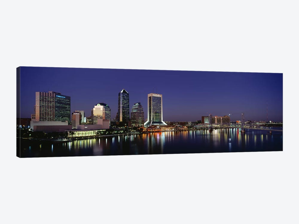 Buildings Lit Up At Night, Jacksonville, Florida, USA by Panoramic Images 1-piece Canvas Art
