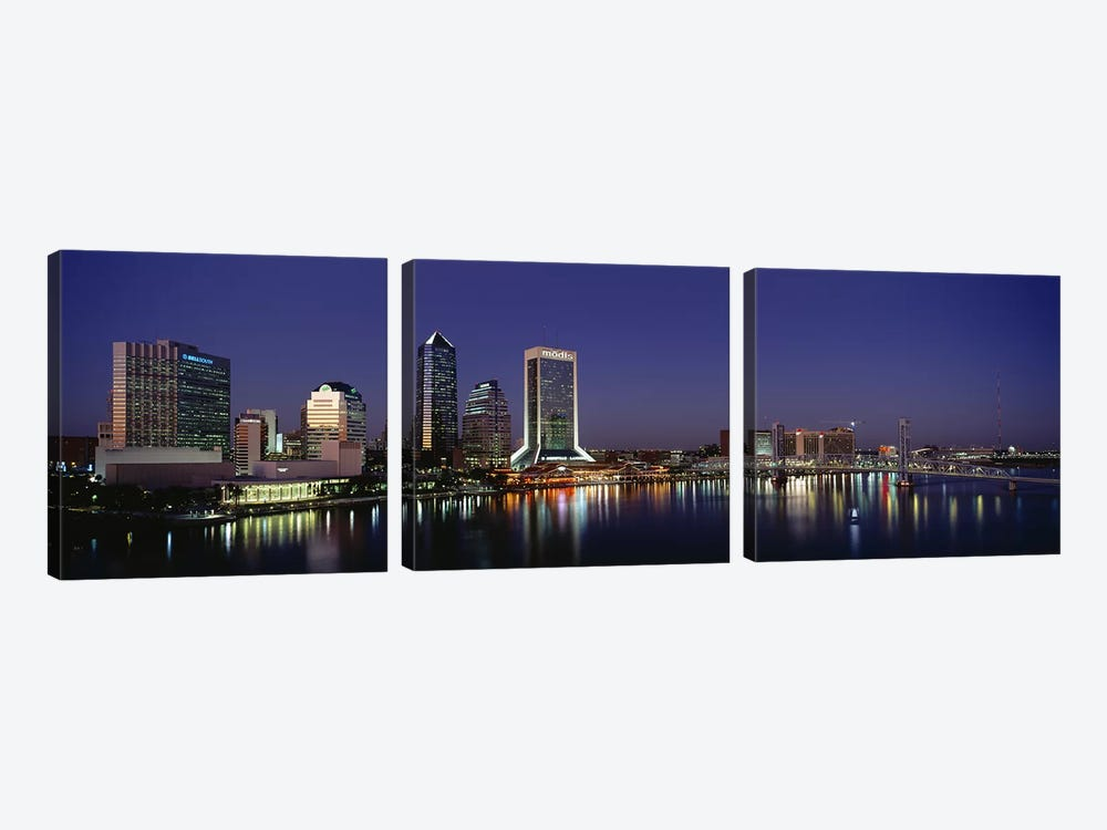 Buildings Lit Up At Night, Jacksonville, Florida, USA by Panoramic Images 3-piece Canvas Art