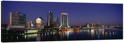 Buildings Lit Up At Night, Jacksonville, Florida, USA Canvas Art Print
