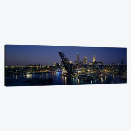 Skyscrapers lit up at night in a cityCleveland, Ohio, USA Canvas Print #PIM3402} by Panoramic Images Canvas Artwork