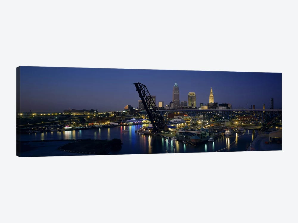 Skyscrapers lit up at night in a cityCleveland, Ohio, USA by Panoramic Images 1-piece Canvas Art Print