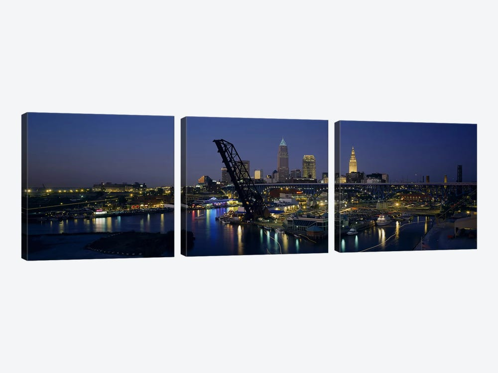 Skyscrapers lit up at night in a cityCleveland, Ohio, USA by Panoramic Images 3-piece Canvas Print