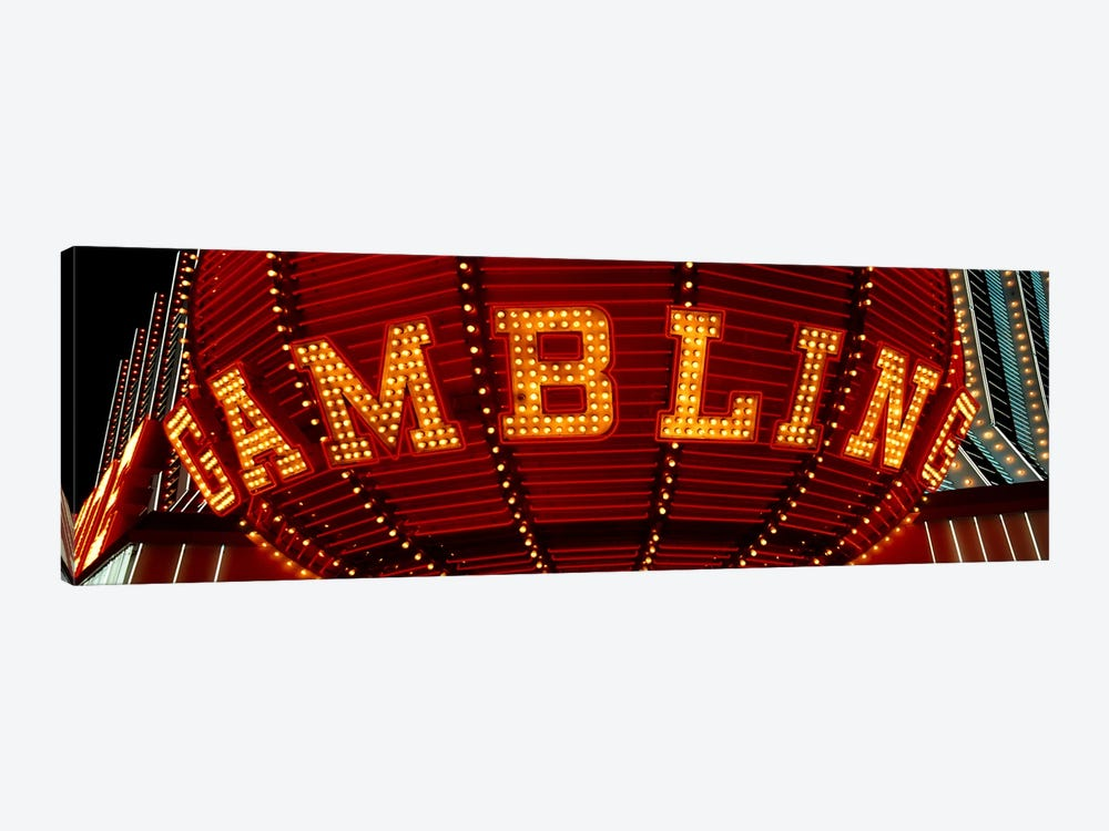 Close-up of a neon sign of gambling, Las Vegas, Clark County, Nevada, USA by Panoramic Images 1-piece Canvas Art Print