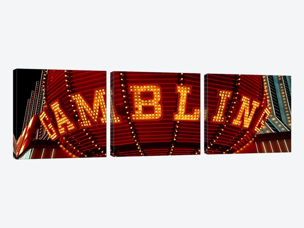 Close-up of a neon sign of gambling, Las Vegas, Clark County, Nevada, USA by Panoramic Images 3-piece Art Print