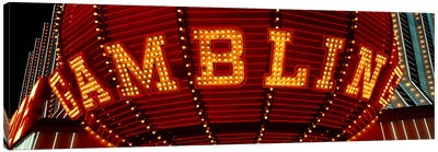 Close-up of a neon sign of gambling, Las Vegas, Clark County, Nevada, USA Canvas Art Print