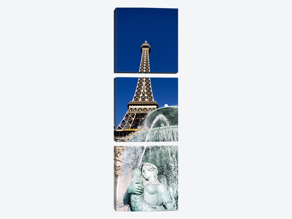 Fountain Eiffel Tower Las Vegas NV by Panoramic Images 3-piece Canvas Art
