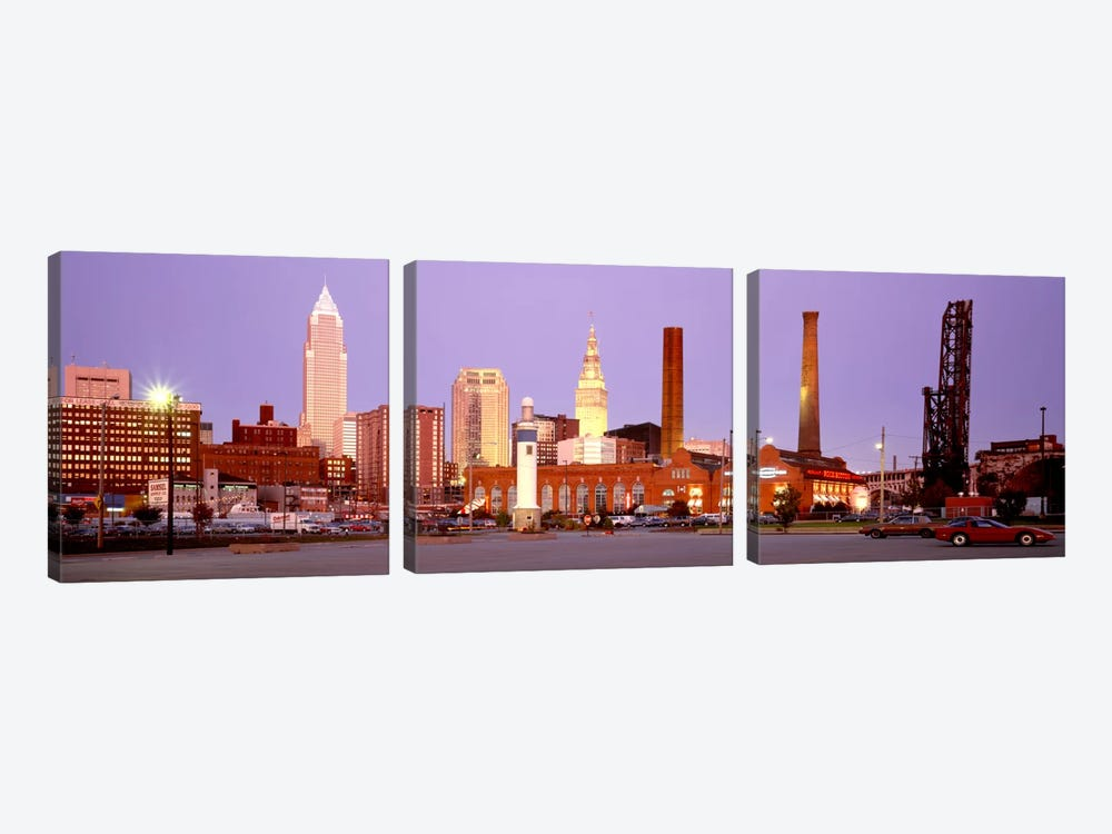 Skyline, Cleveland, Ohio, USA by Panoramic Images 3-piece Canvas Artwork
