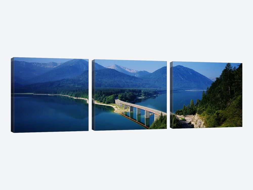 Bridge Over Sylvenstein Reservoir, Isar Valley, Upper Bavaria, Germany by Panoramic Images 3-piece Canvas Artwork