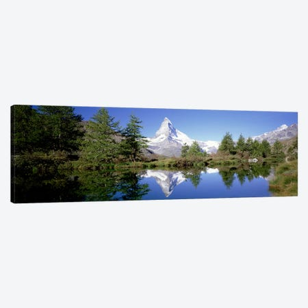 Matterhorn's Riffelsee Reflection, Valais, Switzerland Canvas Print #PIM3415} by Panoramic Images Canvas Wall Art