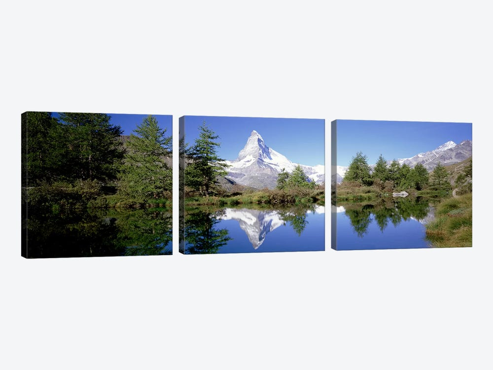 Matterhorn's Riffelsee Reflection, Valais, Switzerland by Panoramic Images 3-piece Canvas Print