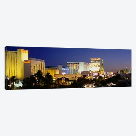 Buildings lit up at dusk, Las Vegas, Nevada, USA Canvas Print #PIM3416} by Panoramic Images Canvas Wall Art