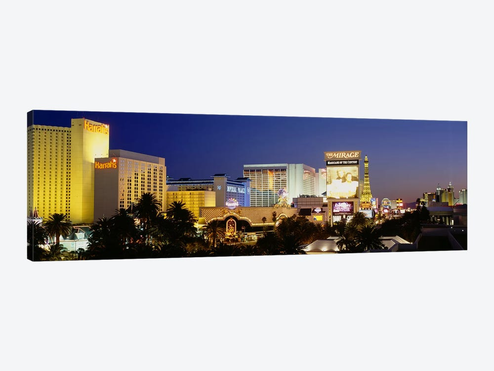 Buildings lit up at dusk, Las Vegas, Nevada, USA by Panoramic Images 1-piece Canvas Artwork