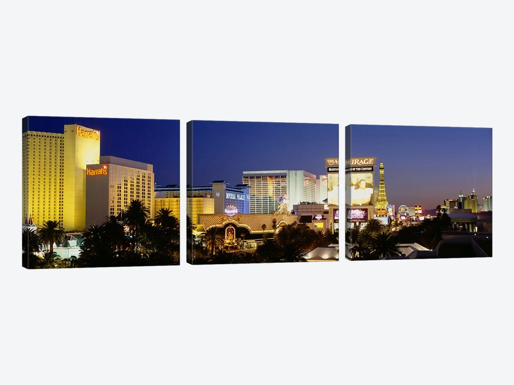 Buildings lit up at dusk, Las Vegas, Nevada, USA by Panoramic Images 3-piece Canvas Wall Art