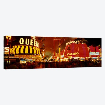 Casino Lit Up At Night, Fremont Street, Las Vegas, Nevada, USA Canvas Print #PIM3419} by Panoramic Images Art Print