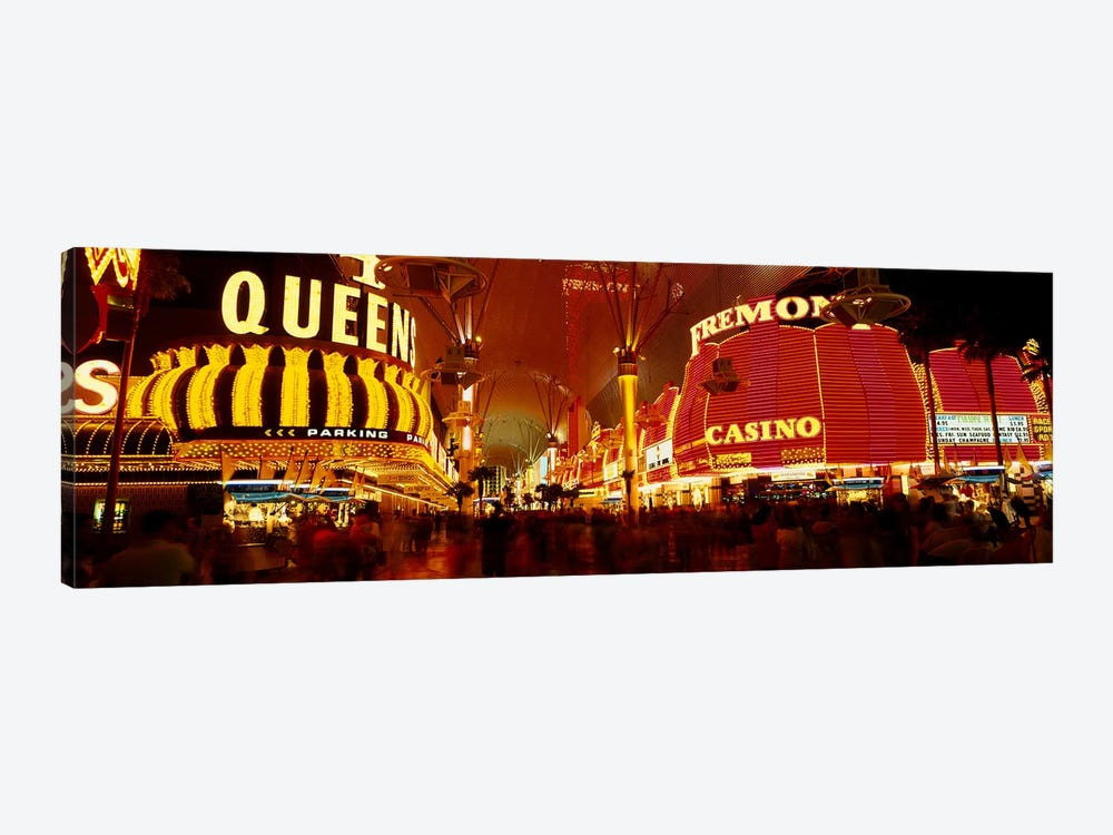 Casino Lit Up At Night, Fremont Street, Las Vegas, Nevada, USA by Panoramic Images 1-piece Canvas Print