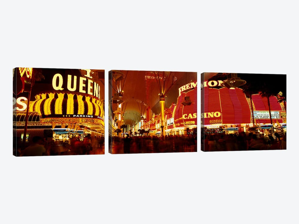Casino Lit Up At Night, Fremont Street, Las Vegas, Nevada, USA by Panoramic Images 3-piece Canvas Print
