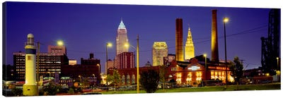 Buildings Lit Up At Night, Cleveland, Ohio, USA Canvas Art Print