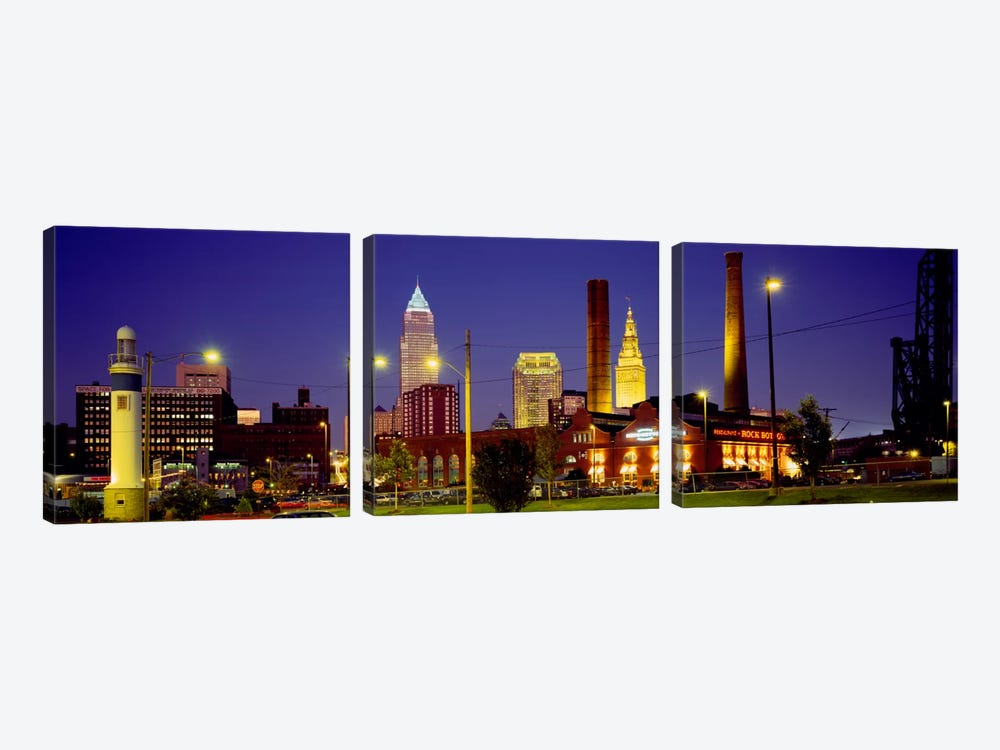 Buildings Lit Up At Night, Cleveland, Ohio, USA by Panoramic Images 3-piece Canvas Print