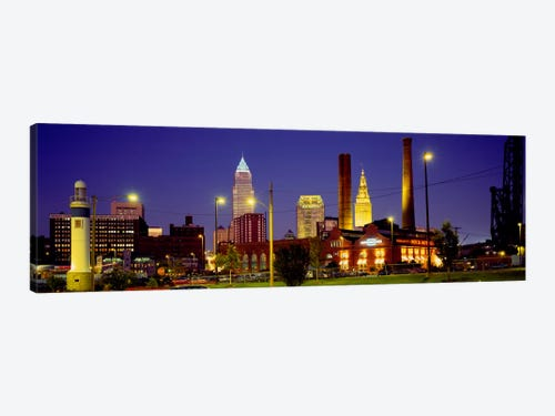 Buildings Lit Up At Night Cleveland Ohio Usa Art Print Icanvas