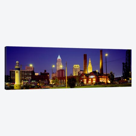 Buildings Lit Up At Night, Cleveland, Ohio, USA Canvas Print #PIM341} by Panoramic Images Canvas Print