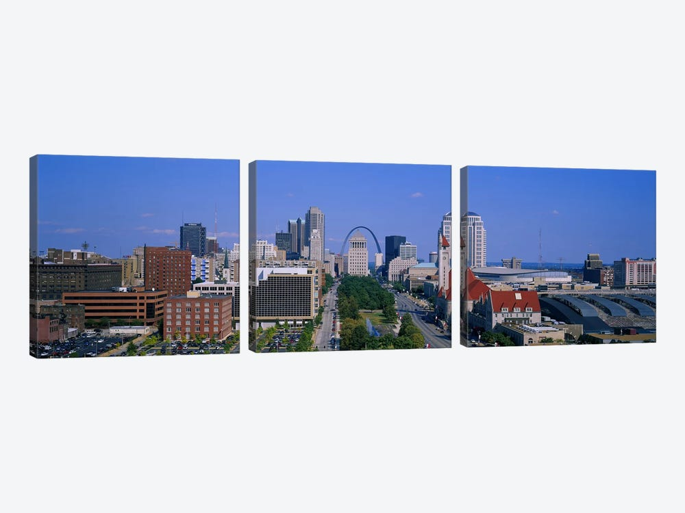 High Angle View Of A City, St Louis, Missouri, USA by Panoramic Images 3-piece Canvas Print