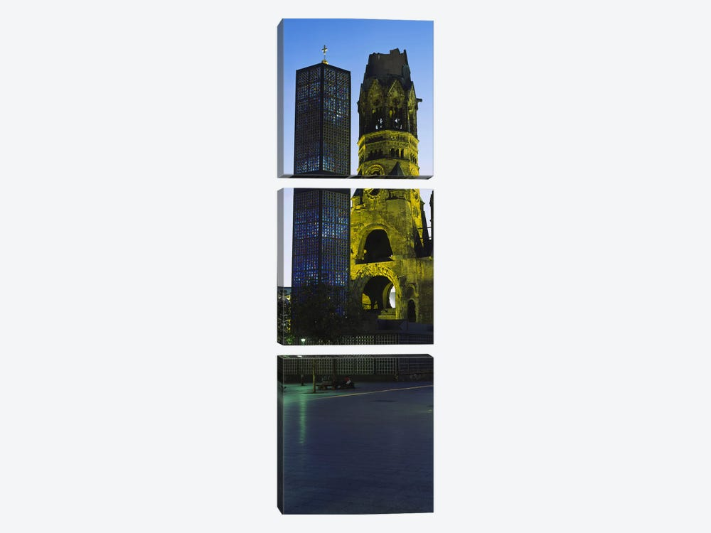 Tower of a church, Kaiser Wilhelm Memorial Church, Berlin, Germany by Panoramic Images 3-piece Canvas Artwork