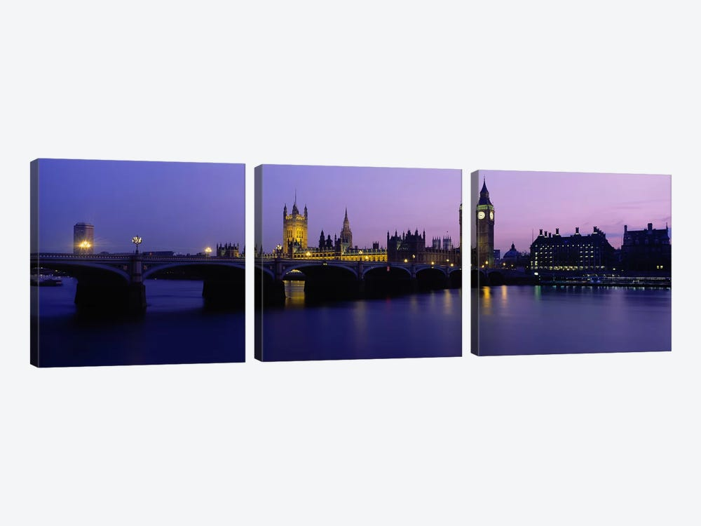 An Illuminated Palace Of Westminster I, London, England, United Kingdom 3-piece Canvas Art Print