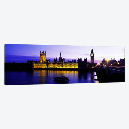 An Illuminated Palace Of Westminster II, London, England, United Kingdom Canvas Print #PIM3427} by Panoramic Images Canvas Art Print