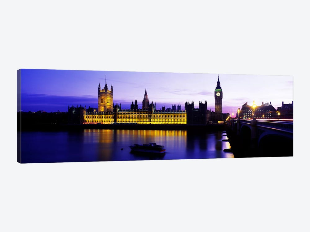 An Illuminated Palace Of Westminster II, London, England, United Kingdom by Panoramic Images 1-piece Canvas Artwork