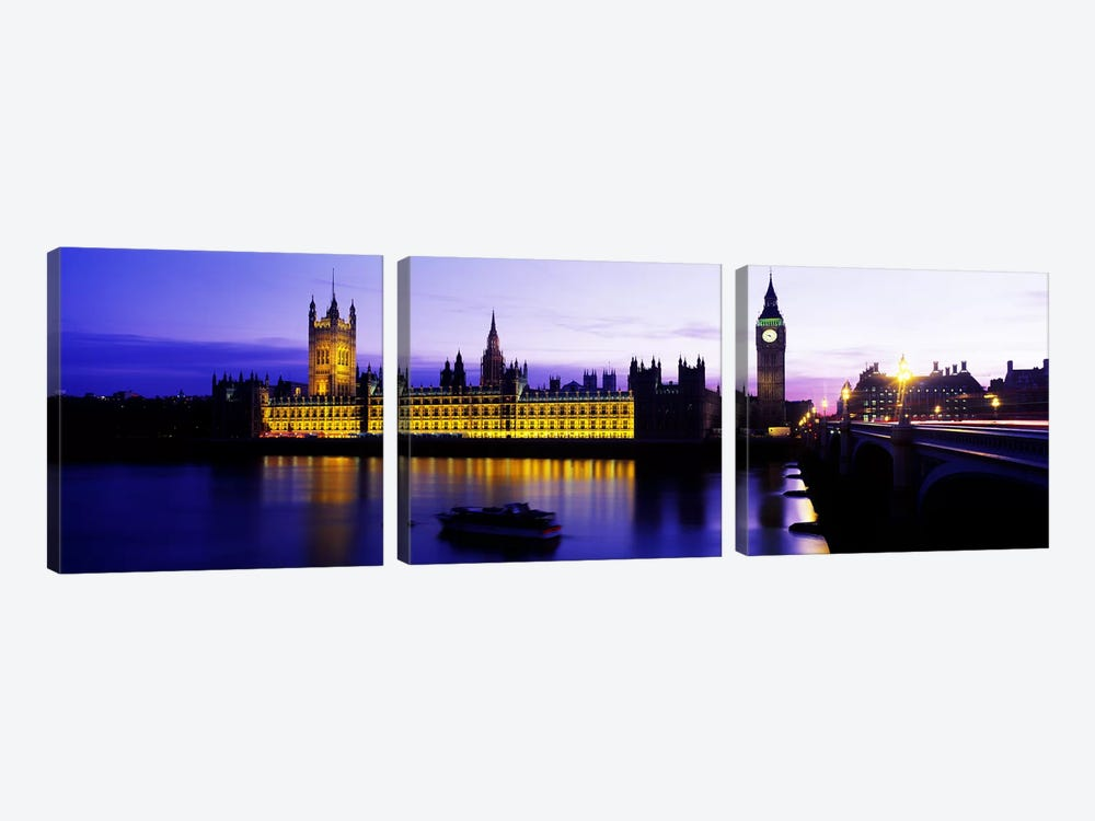 An Illuminated Palace Of Westminster II, London, England, United Kingdom by Panoramic Images 3-piece Canvas Art
