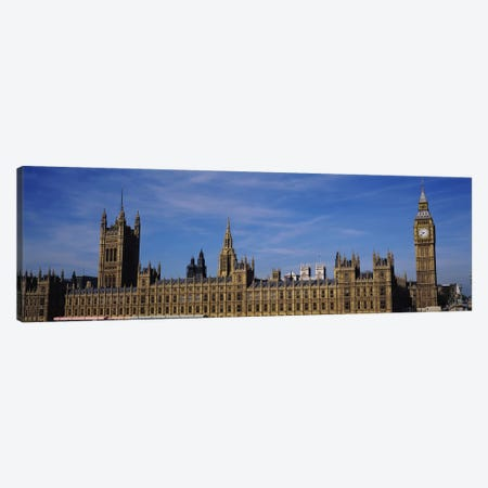 Blue sky over a building, Big Ben and the Houses Of Parliament, London, England Canvas Print #PIM3428} by Panoramic Images Canvas Artwork