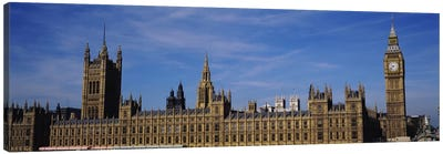 Blue sky over a building, Big Ben and the Houses Of Parliament, London, England Canvas Print #PIM3428
