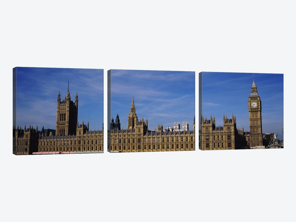 Blue sky over a building, Big Ben and the Houses Of Parliament, London, England by Panoramic Images 3-piece Canvas Art Print