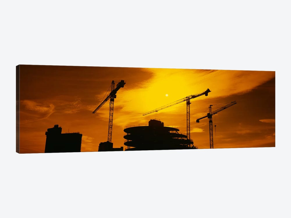 Cranes In An Orange Dusk, London, England, United Kingdom by Panoramic Images 1-piece Canvas Wall Art